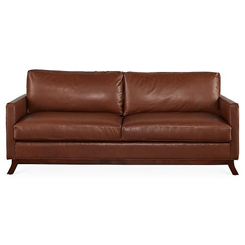 Edwards Sofa, Saddle Leather