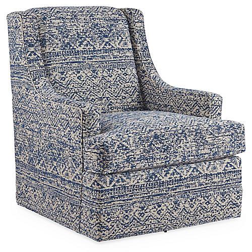 Berkley Swivel Chair, Blue/Multi
