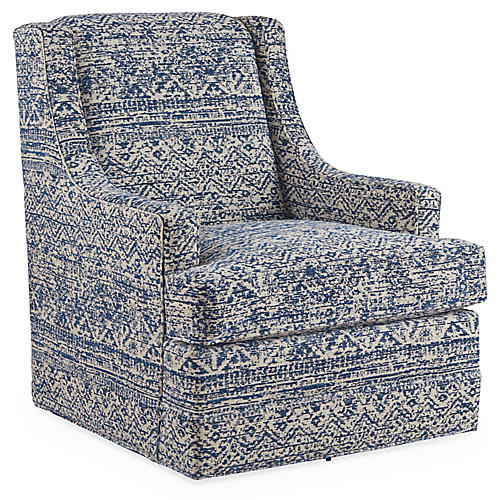 Berkley Swivel Chair, Blue/Multi
