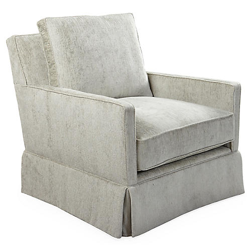 Auburn Swivel Chair, Gray Chenille