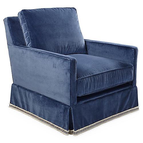 Auburn Swivel Chair, Mariner Velvet