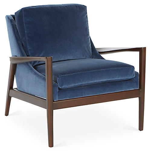 Ebonwood Accent Chair Mariner Velvet 1 Left Miles Talbott