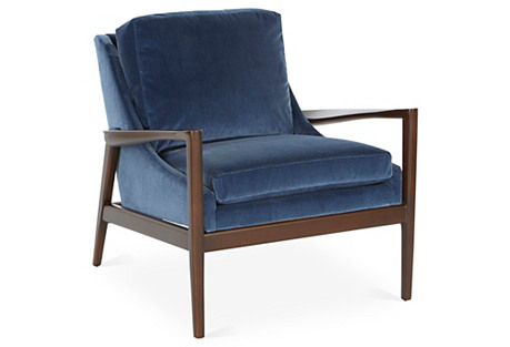 Ebonwood Accent Chair, Mariner Velvet