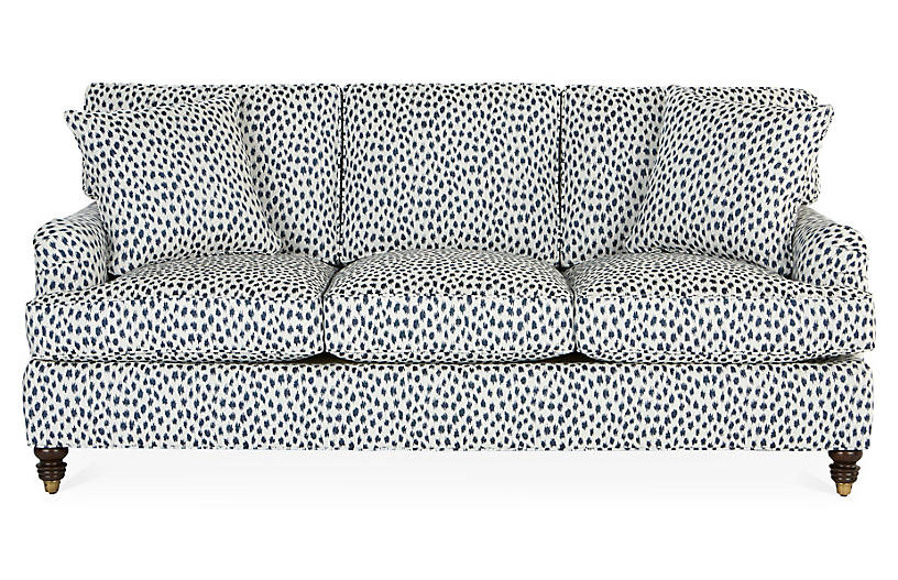 Kate Sofa, Navy Spot Sunbrella