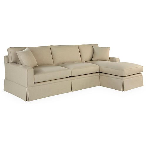 Liza RF Skirted Sectional, Tan Crypton