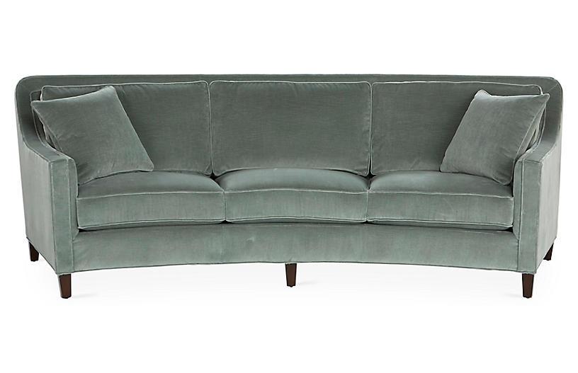Caymen Curved Sofa, Sage Velvet