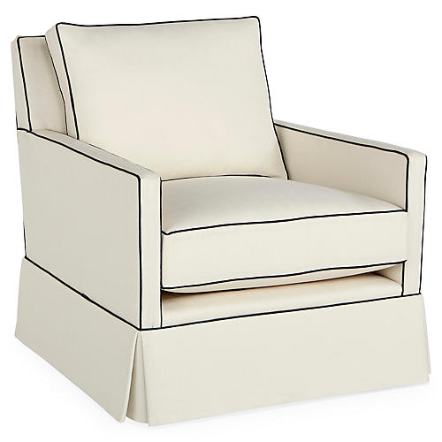 Auburn Club Chair, Ivory/Navy Crypton