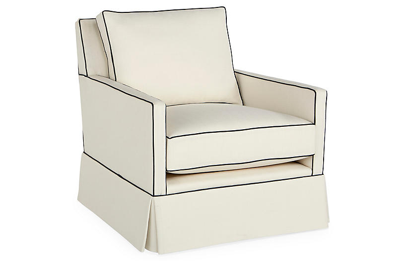 Auburn Club Chair, Ivory/Navy Crypton