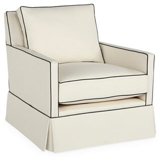 Superbe Auburn Skirted Club Chair, White Crypton   Club Chairs   Chairs   Living  Room   Furniture | One Kings Lane