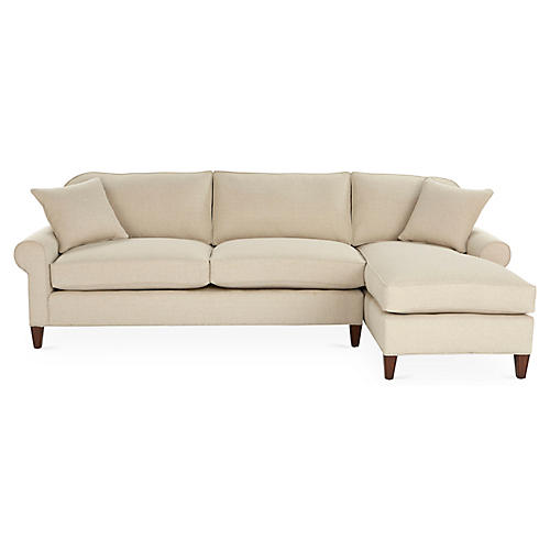 Abby Right-Facing Sectional, Natural Crypton