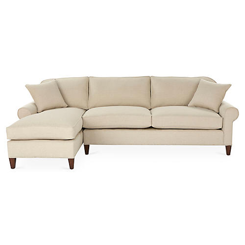 Abby Left-Facing Sectional, Natural Crypton