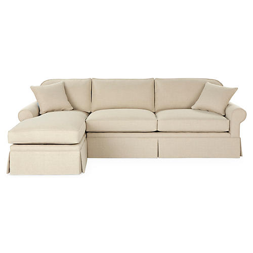 Abby LF Sleeper Skirted Sectional, Natural Crypton