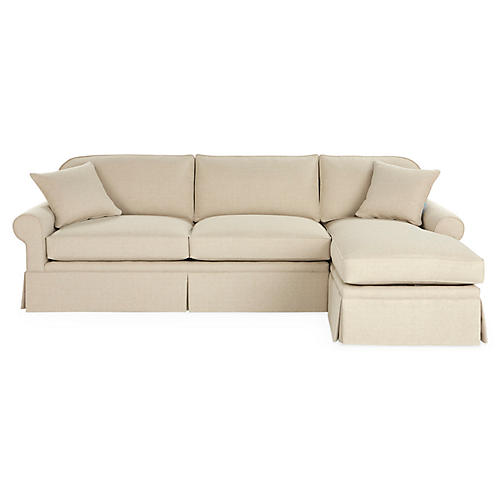 Abby RF Sleeper Skirted Sectional, Natural Crypton