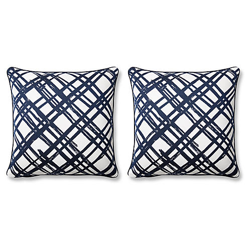 S/2 Slash 20x20 Pillows, Indigo Sunbrella