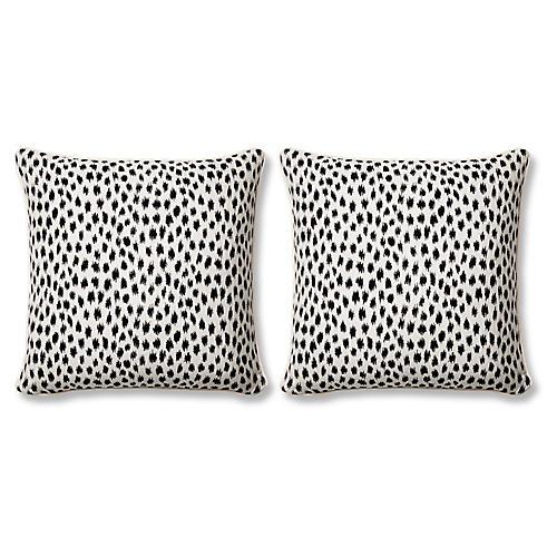 S/2 Agra 20x20 Pillows, Black Sunbrella