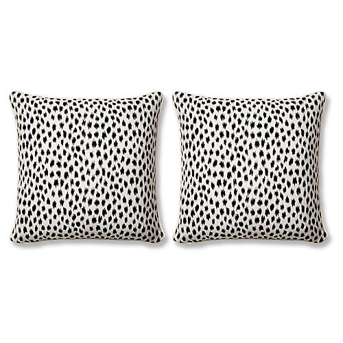 S/2 Agra Pillows, Black Sunbrella