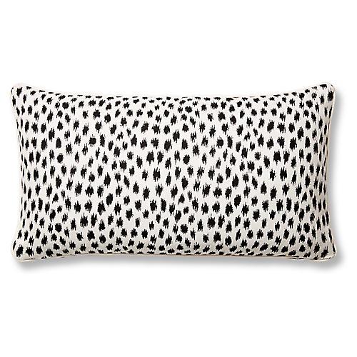 Agra 12x23 Lumbar Pillow, Black/White Sunbrella