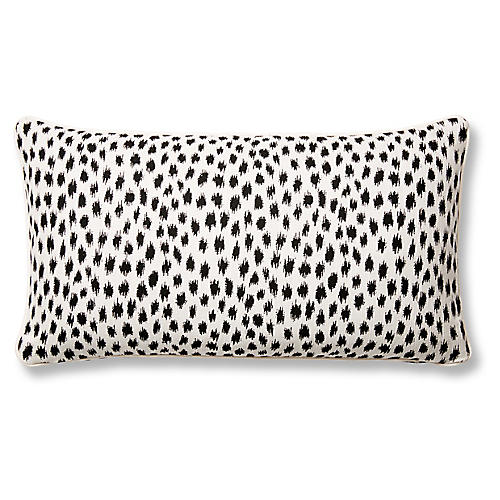 Agra 12x23 Lumbar Pillow, Black/White Sunbrella