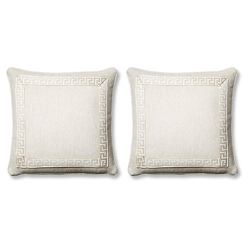 S/2 Tailor Pillows, Natural Sunbrella