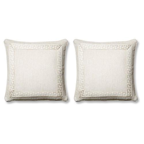 S/2 Tailor Pillows, Natural Sunbrella