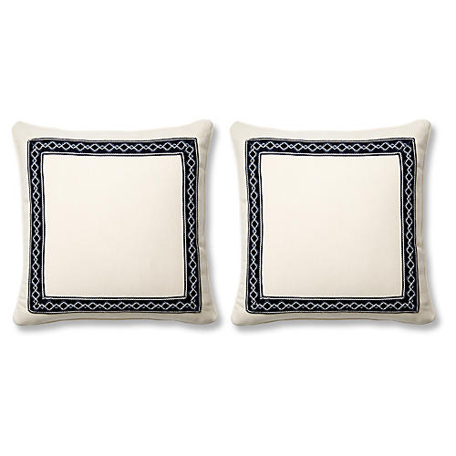 S/2 Sail 20x20 Pillows, Indigo Sunbrella