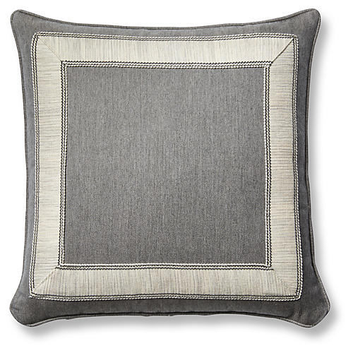 Trax 20x20 Pillow, Gray Sunbrella
