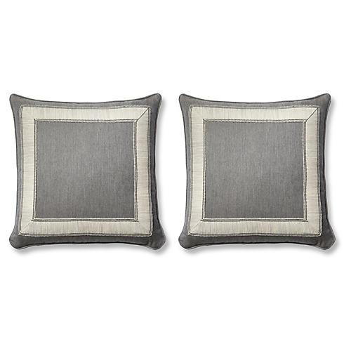 S/2 Trax Pillows, Gray Sunbrella