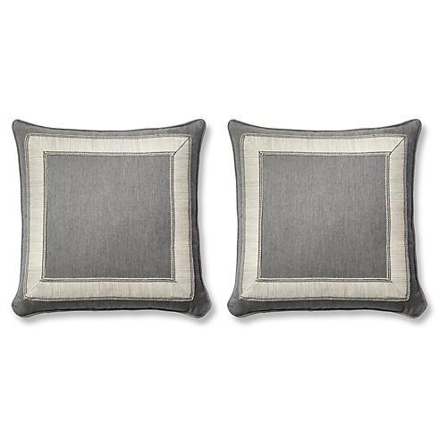 S/2 Trax Pillows, Gray Sunbrella