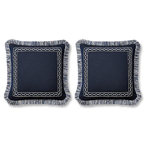 S/2 Meridia 20x20 Pillows, Indigo Sunbrella