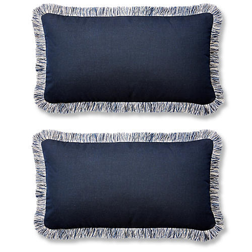 S/2 Meridia 12x23 Lumbar Pillows, Indigo Sunbrella