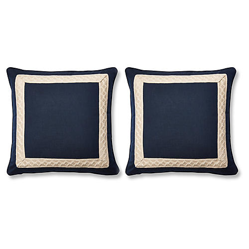 S/2 Meridia 20x20 Pillows, Blue Sunbrella
