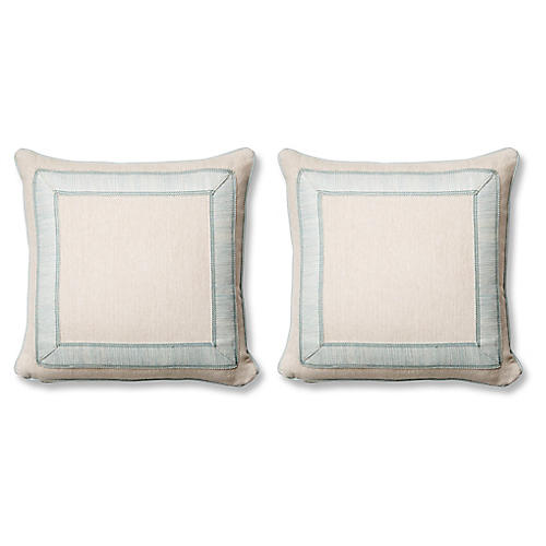 S/2 Tailor Pillows, Blue Sunbrella