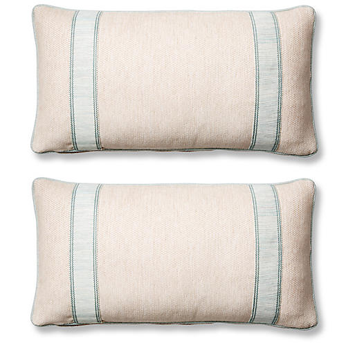 S/2 Tailor 12x23 Lumbar Pillows, Blue Sunbrella
