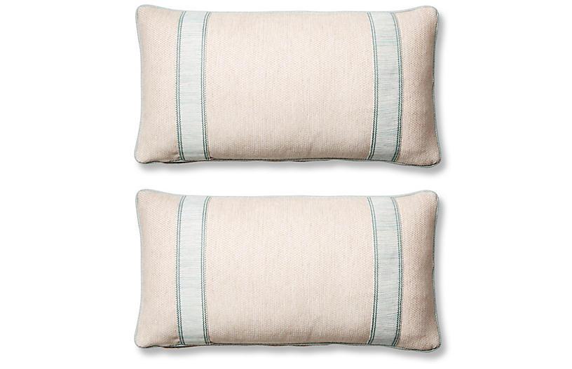 S/2 Tailor Lumbar Pillows, Blue Sunbrella