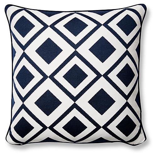 Savvy 20x20 Subrella Pillow, Indigo/White