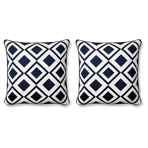 S/2 Savvy 20x20 Pillows, Indigo/White Sunbrella