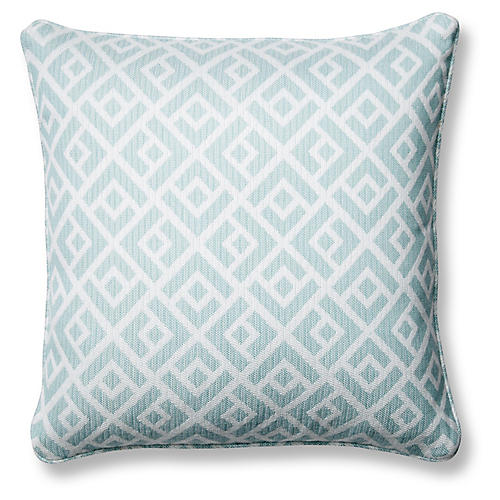 Chipper 18x18 Pillow, Blue Sunbrella