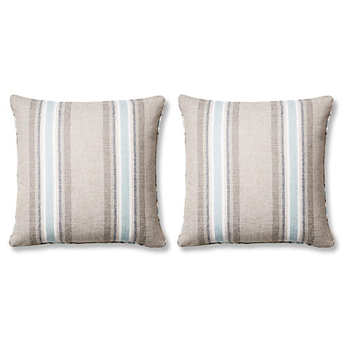 S/2 Azore Pillows, Tan Sunbrella