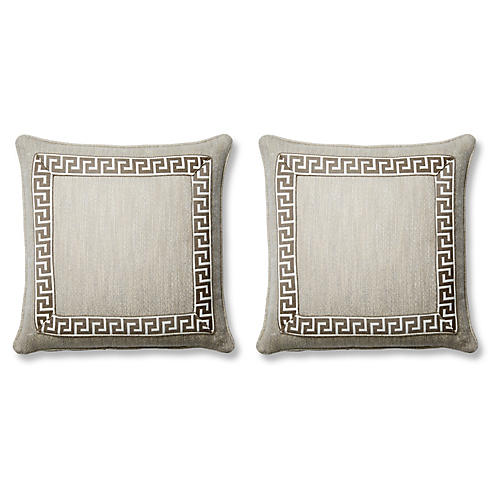 S/2 Pebbles Pillows, Gray Sunbrella