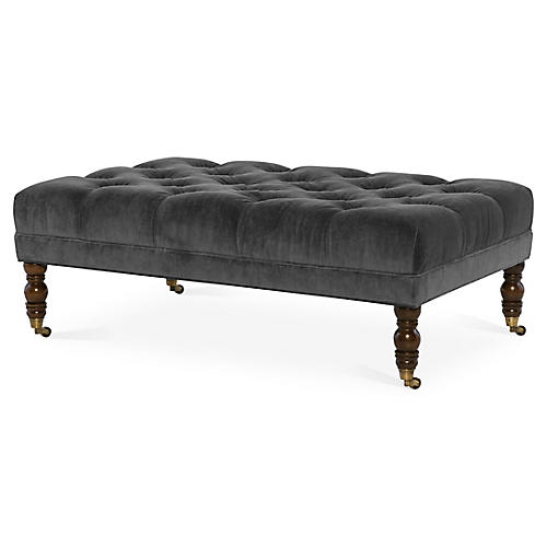 Anna Cocktail Ottoman, Charcoal Velvet