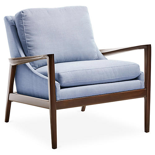 Ebonwood Accent Chair, Blue Linen