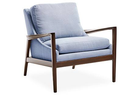 Ebonwood Chair, Light Blue Linen