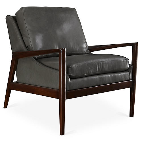 Ebonwood Accent Chair, Gray Leather