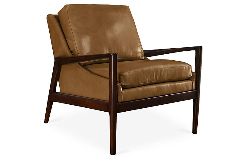 Ebonwood Accent Chair, Caramel Leather