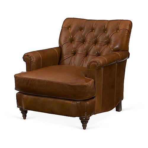 Acton Tufted Club Chair, Saddle Leather