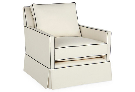 Auburn Skirted Swivel Chair, White