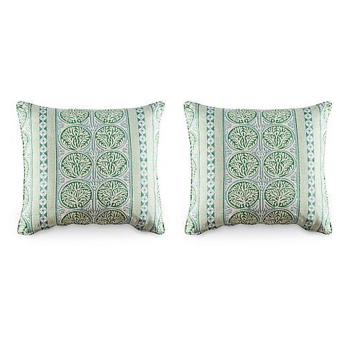 S/2 Fair Isle Pillows, Spring Green
