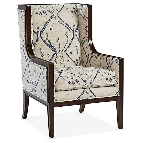 Springfield Wingback Chair, Ivory/Indigo