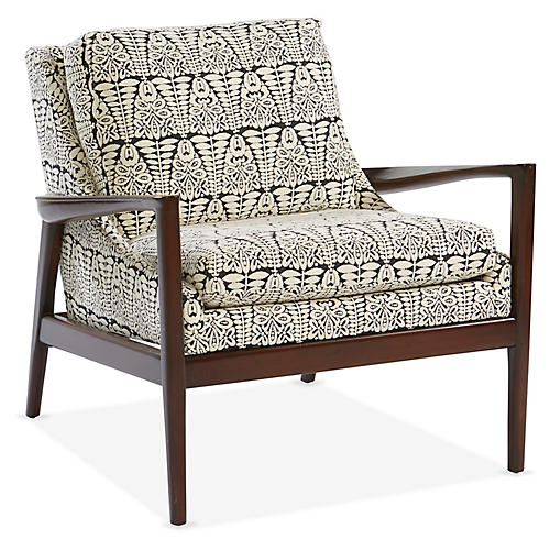 Ebonwood Accent Chair, Black/Ivory