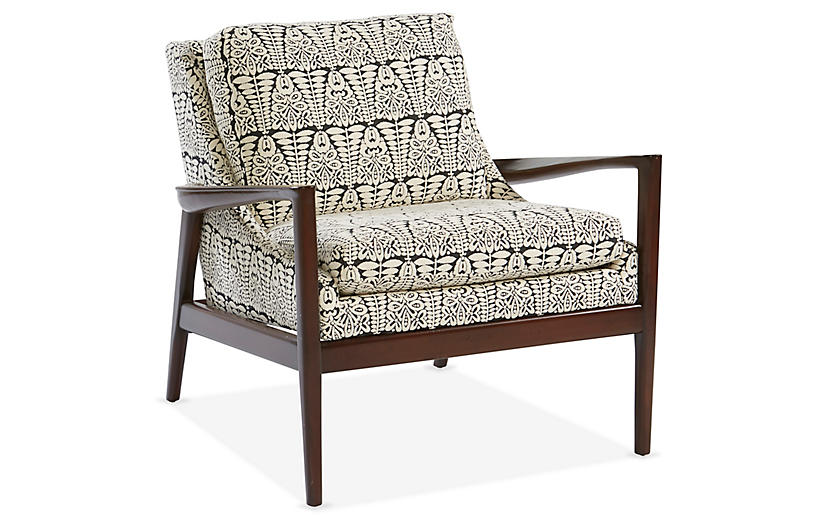 Ebonwood Accent Chair, Black/Ivory
